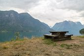 Wooden Bench In Fjord