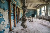 stock photo of nuclear disaster  - gymnasium in Chernobyl - JPG
