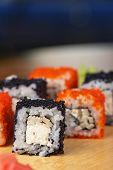 Japanese cuisine - tobico sushi rolls