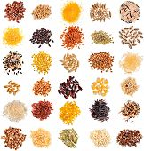 stock photo of corn  - Collection Set of Cereal Grains and Seeds Heaps - JPG