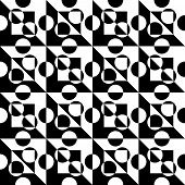 Abstract Circle and Square Pattern. Vector Seamless Background. Regular Black and White Texture