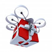 3D rendering of a giftbox flying held by a drone