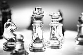 Closeup of glass chess pieces
