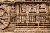 stock photo of surya  - View on the ancient Surya Hindu Temple Sun Temple at Konarak Orissa India - JPG