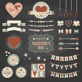 Valentine's Day design and decoration elements set on dark gray background