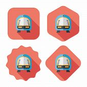 Speed Train Flat Icon With Long Shadow,eps10