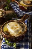 stock photo of french toast  - Homemade French Onion Soup with Cheese and Toast - JPG