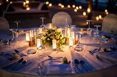 foto of marriage ceremony  - Table setup for wedding ceremony on the beach - JPG
