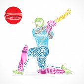 stock photo of cricket  - creative abstract cricket player design by brush stroke vector - JPG