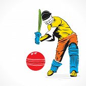 creative abstract cricket player design by brush stroke
