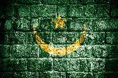 Mauritania flag painted on grunge wall