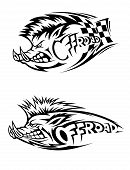 picture of wild hog  - Snarling wild boar Off Road icon in black and white vector design with two variations - JPG
