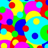 Multicolored various size spots abstract illustration.