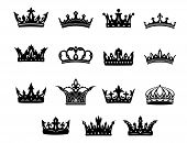 Set of black and white royal crowns