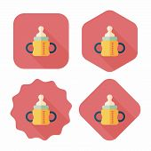 Baby Bottle Flat Icon With Long Shadow,eps10