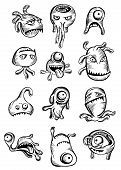 Set of twelve cute scary Halloween monsters