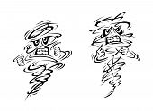 picture of genie  - Two very angry ghosts or magical genies balling their fists and gnashing their teeth in a swirl of black and white - JPG
