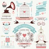 stock photo of decorative  - Vector set of decorative design elements for valentine - JPG