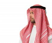 pic of headdress  - Sad man in Arabic headdress - JPG