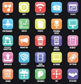 Set Of Social Media Buttons For Design. Flat Outline Style Design