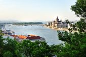 Budapest, View Of Danube River And Parliament