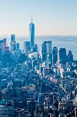 New York City Manhattan Midtown Aerial Panorama View With Skyscrapers