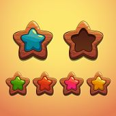 picture of oblong  - Set of cartoon wooden stars - JPG