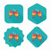 Martini Glass Cheers Flat Icon With Long Shadow,eps10