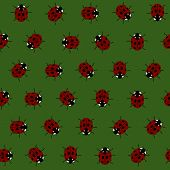 Seamless Pattern with Red Ladybugs and Ladybirds on a Dark Green Background.