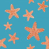 Seamless pattern with orange starfishes in the blue sea water.