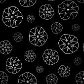 foto of ipomoea  - Black and White Seamless Pattern with  Ipomoea Flowers - JPG