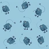 Dreaming Birds and Dragonfly on a Blue Background. Seamless Pattern.