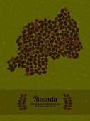 Постер, плакат: Rwanda map made of roasted coffee beans Vector illustration