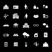 Retirement Community Icons On Gray Background