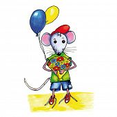 foto of mouse  - Little mouse child with bouquet birthday flowers and balloons - JPG