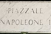 stock photo of plaque  - The marble plaque with the name of the street - JPG