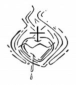 picture of sacred heart jesus  - Hand drawn vector illustration or drawing of Jesus Christ Sacred Heart - JPG