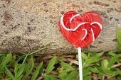 foto of valentine candy  - Candy valentines hearts on timber at the park - JPG