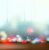 pic of raindrops  - Raindrops on the Windows and wooden surface - JPG