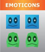 picture of emoticons  - Small set with blue and green emoticons - JPG