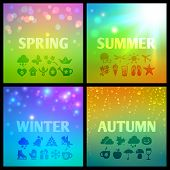������, ������: Set of colorful seasons backgound with icons