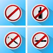 stock photo of  habits  - signs that prohibit bad habits - JPG