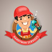 picture of handyman  - Handyman Services Emblem for Your Carpentry Company Projects - JPG
