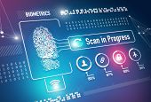 stock photo of fingerprint  - Fingerprint scan security system and technology concept - JPG