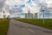 stock photo of wind-power  - Nuclear power plant Dukovany with wind turbines in Czech Republic Europe - JPG