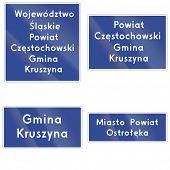 stock photo of municipal  - Voivodeship County and Municipality Border Sign In Poland - JPG