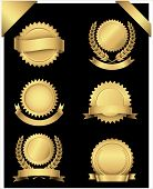 picture of gold medal  - Set of 6 different gold seals with banners and wreaths - JPG