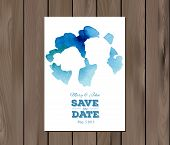 pic of ombre  - Save the date wedding invitation with watercolor elements and profile silhouettes of man and woman - JPG