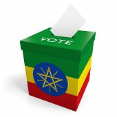 pic of ballot-paper  - A ballot box bearing the Ethiopian flag - JPG