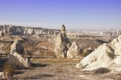 pic of chimney rock  - The landscape of Cappadocia with rock formations at sunny autumn day - JPG